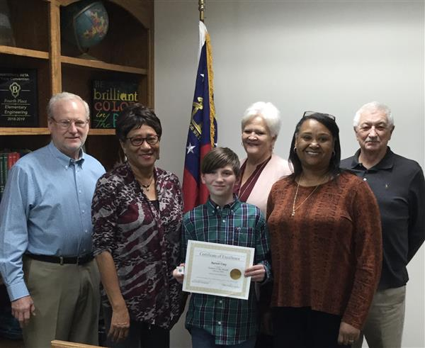 "Barrett Usry from JCMS was named ""Student of the Month"" for the Month of February"